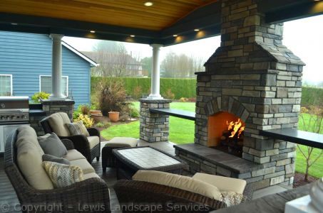 Stone Gas Fireplace - Front Side