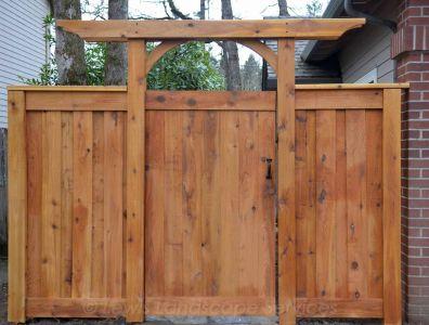 ShadowBox style cedar fence & arbor we installed in Portland Oregon - fence installation company