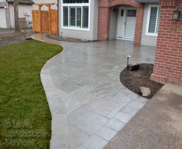 Front Walkway / Porch Made with Stone Pavers by Marshall's