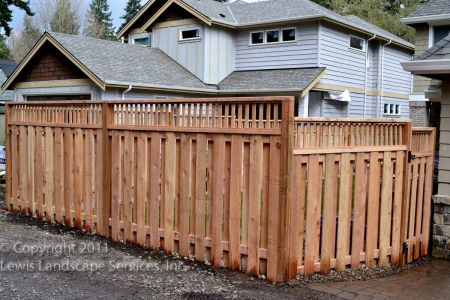 Good Neighbor Style Cedar Fence & Lattice Top at job we did in Lake Oswego, OR - fence builders