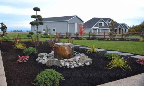 Rock Bubbler Fountain & Front Yard Landscape
