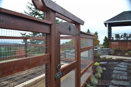 Close-up of Gate/Arbor at Custom Rabbit-proof / Deer-proof fence we installed in Hillsboro Oregon - Fence Installers