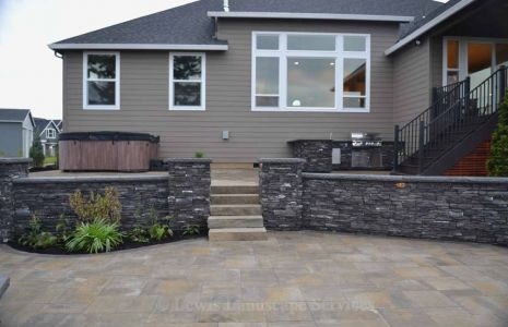 Paver Patio, Stone Walls, Outdoor Kitchen & Rock Slab Steps