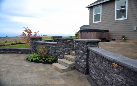Paver Patio, Stone Walls, Rock Slab Steps
