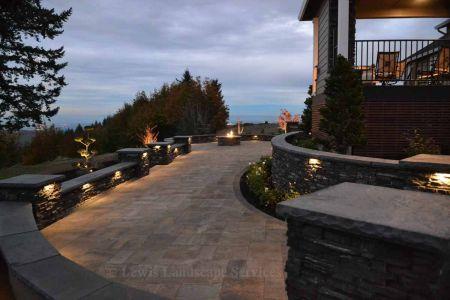 Stone Veneer Seat Walls & Columns w/ Built In Lighting