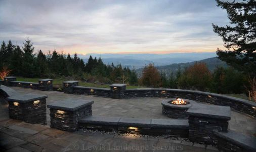 View from Upper Paver Patio of Lower Patio, Fire Pit & Valley