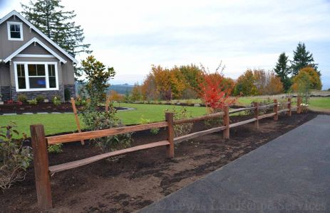 Front Yard Sod Lawn & Landscape & Close-up of Split Rail Fence