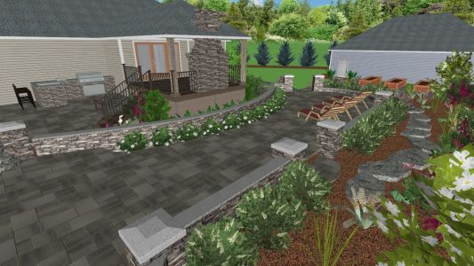 3D View of Landscape Design (Back Yard) for Job we completed in 2019 in Hillsboro