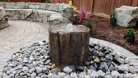 Custom Tree Stump (Concrete) Bubbler Fountain