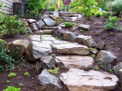 Basalt Boulder Rock Walls & Rock Slab Steps