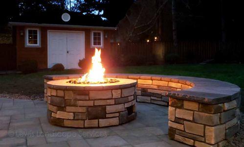 Gas Fire Pit & Seat Wall, Stone Veneer