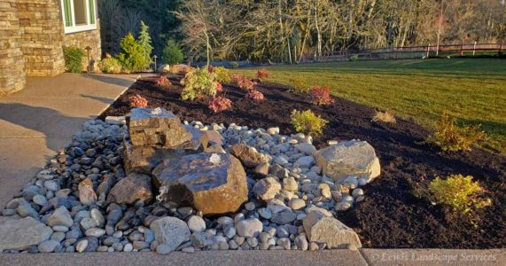 Bubbler Fountain Water Feature, Front Yard Planting Beds, Sod Lawn