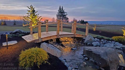 Bridge at Top of Waterfall, New Sod Lawn, Planting, Outdoor Lighting