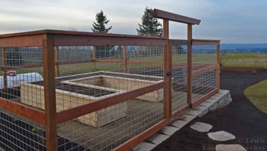 Close-up of Garden / Raised Beds with Deer-proof & Rabit-proof fence