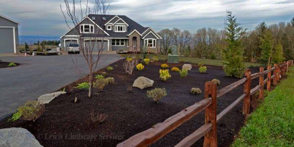Front Yard Landscape, Split Rail Fence