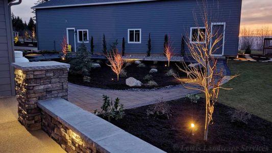 Seat Wall, Column, Paver Pathways, Planting, Night Lighting