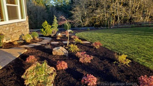 Front Yard Planting Beds, Flagstone Steps, Sod Lawn
