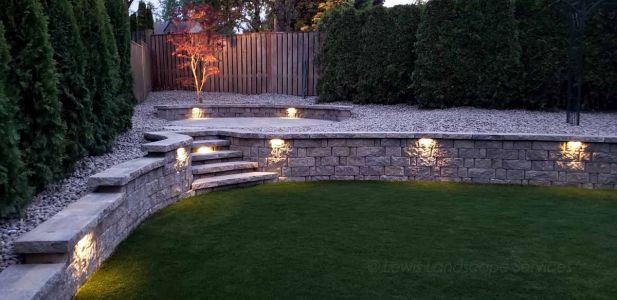 Segmental Retaining Wall & Lighting
