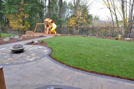 Paver Patio & Pathways, Planting, New Sod Lawn
