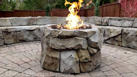 Custom Made Rock Gas Fireplace