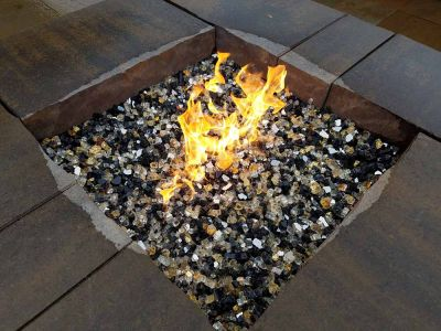 Square Block Gas Fire Pit w/ Fire Glass