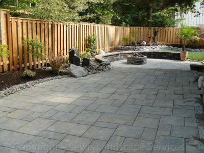 2013 Back Yard Paver Patio, Seat Walls, Fire Pit, Rock Bubbler Fountain, Sod Lawn, Plantings