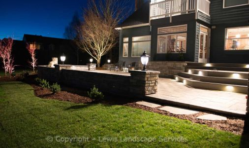 Patio, Deck Steps, Seat Wall at Night