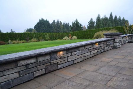Stone Seat Wall with Built In LED Lighting