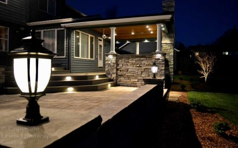 Post Lighting, Tree Uplighting & Hardscape Lighting at a Landscape and Hardscape Project We Installed in Beaverton, Oregon