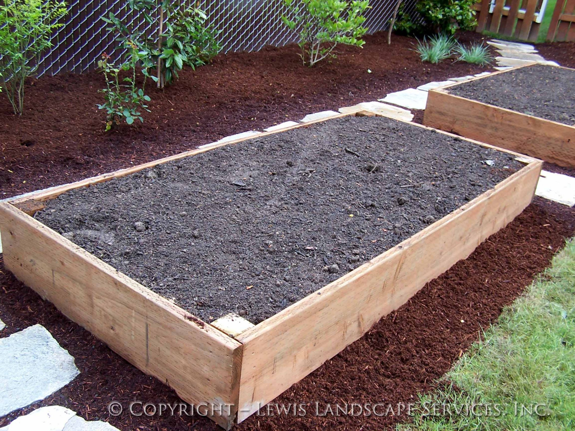Cedar Raised Beds Garden Boxes from job we did in Beaverton, OR