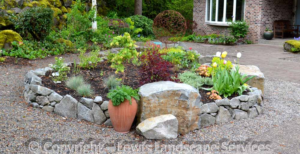 Raised Beds Made with Basalt Wall Rock